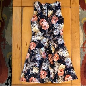 Dark blue floral stretch fit and flare M